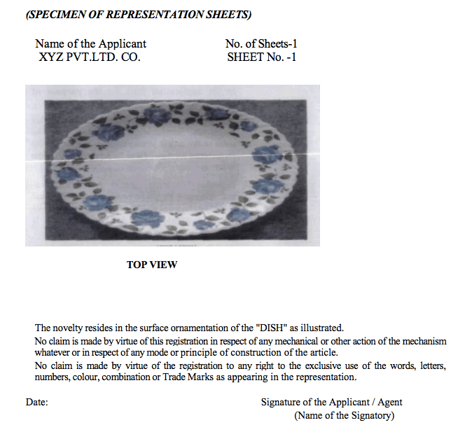 specimen of representation sheet Design Registration in India