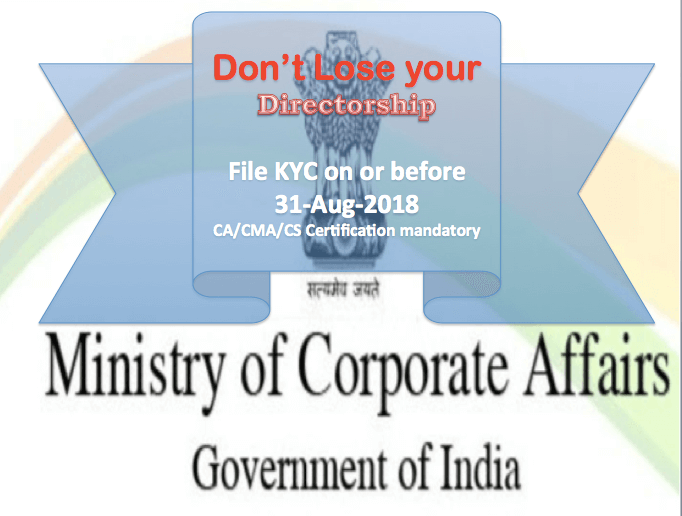 Mandatory KYC Filing for Directors every year with ROC Certified by CA/CMA/CS